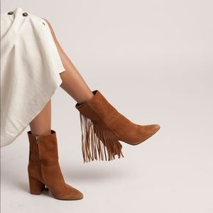 Dolce Vita Leather Fringe Mid Boot Brown